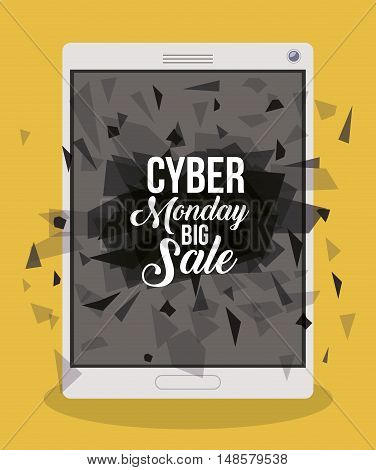 Cyber Monday and tablet icon. ecommerce sale decoration and advertising theme. Colorful design. Vector illustration