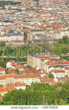 PRAGUE, CZECH REPUBLIC - JULY 3, 2014: Panorama of Prague and National Theatre building seen from Petrin Hill Observation Tower.