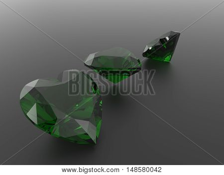 Diamonds on a gray background. 3D rendering
