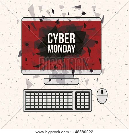 Cyber Monday and computer icon. ecommerce sale decoration and advertising theme. Colorful design. Vector illustration