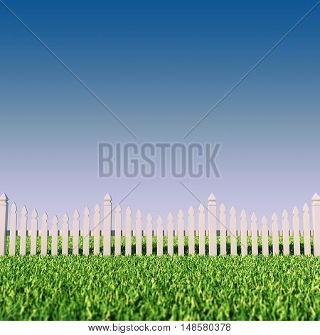 Back/front yard picket fence grass and clear sky , Privacy , 3d illustration