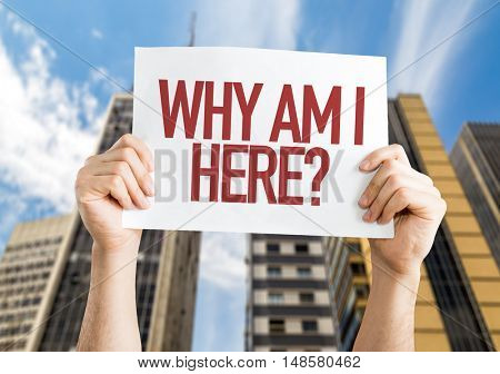 Why Am I Here? placard