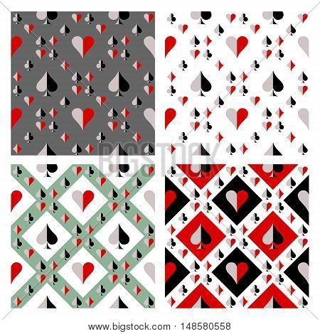 Set of seamless vector patterns with icons of playings cards. Endless backgrounds. Graphic illustration. Series of gaming and dambling seamless vector patterns.