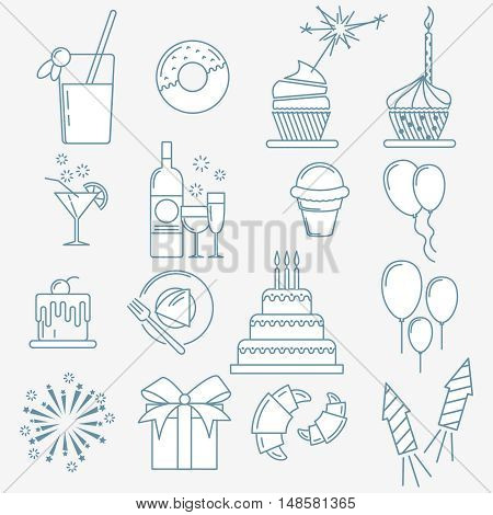 Party line icons collection of special event and happy birthday party organization , thin line style.