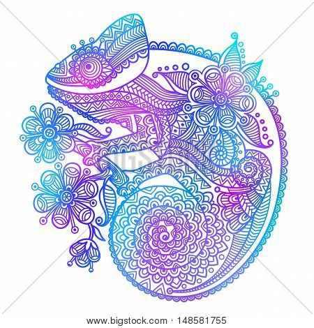 The outline vector illustration of a rainbow chameleon isolated on white background.