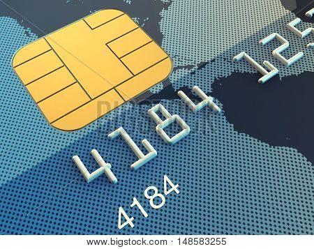 Credit card macro , Banking security , 3d illustration