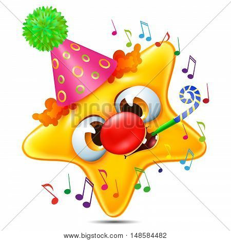 Cartoon star emotion congratulated on his birthday with party whistle