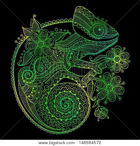 The outline vector illustration of a green chameleon on black background.
