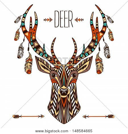 Ethnic totem of a deer. A tattoo of a deer with an ornament. Use for print, posters, t-shirts, tattoo. Hand Drawn vector illustration