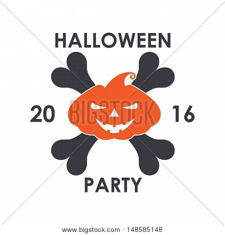 Vector Orange Pumpkin With Scary Face On The Background Of The Bones, Poster Or Logo For Halloween H