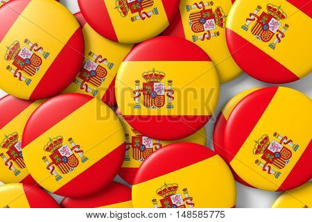 Background made with shiny spain badges with spanish flag. 3d render 3d illustration