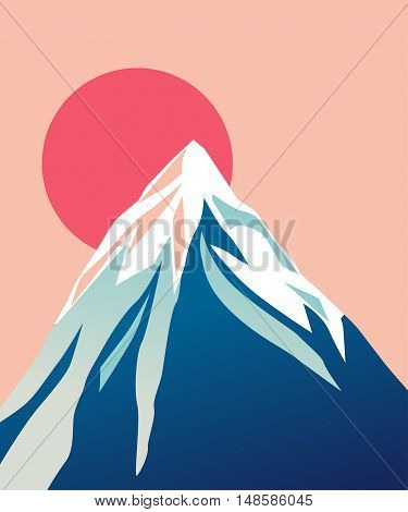 Mountain with red Sun. Blue mountain with snowy peak. Color cartoon illustration. Vector.