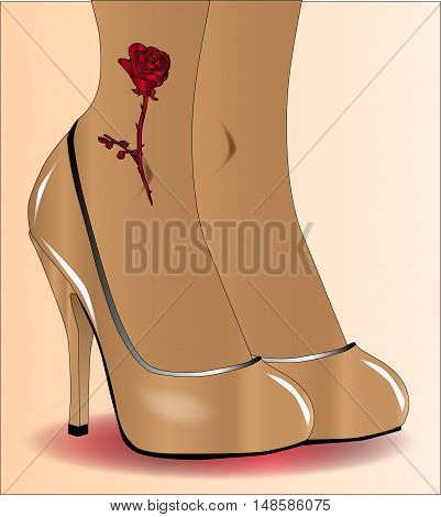 A pair of ladies legs with a red rose tattoo in steletto heal shoes