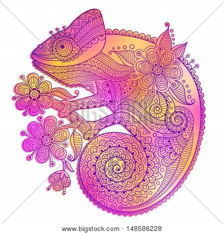 Vector illustration of rainbow chameleon and decorative patterns.