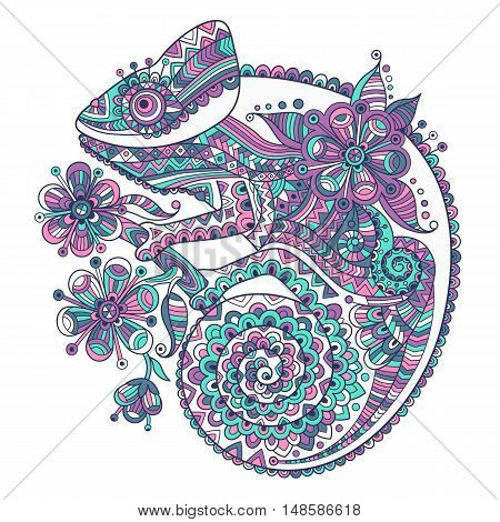 Vector illustration with a chameleon and beautiful patterns.