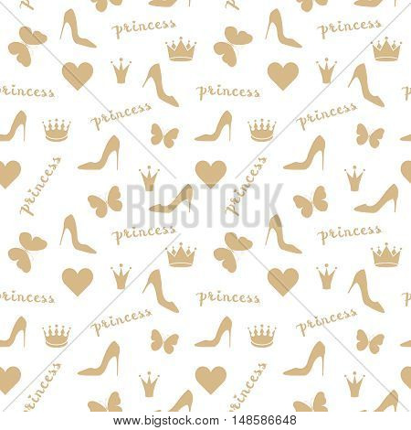 Seamless pattern. Crowns, butterflies, shoes silhouettes in golden beige. Fashion objects isolated on white. Use as fabrics, wallpaper, background, wrapping paper etc. Vector illustration
