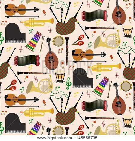 Musical instruments background pattern with colored vector icons in square format