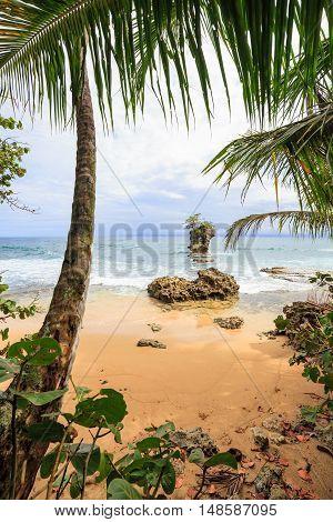 Beach and rock islet in Manzanillo Costa Rica