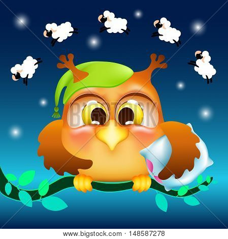 funny cartoon owl with a pillow, counting sheep