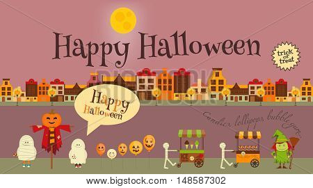 Halloween in Town - Greeting Card - October Party Symbols. Set of Trick or Treat Objects. Invitation Card for Party. Vector Illustration.