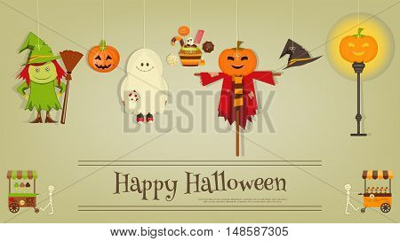 Halloween Poster - Symbols and Signs of October Holiday. Sweet Treats and Jack-o-lantern. Invitation Card for Party. Vector Illustration.
