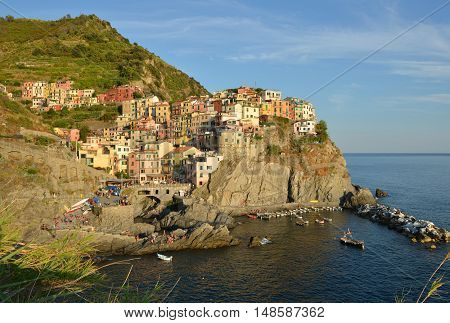 Italy Cinque Terre Manarola village. Summer view