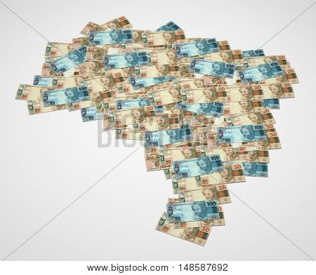 Map of Brazil with notes of 50 and 100 reais 3D