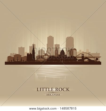 Little Rock Arkansas City Skyline Vector Silhouette