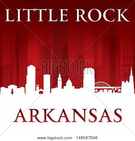 Little Rock Arkansas City Silhouette Red Background
