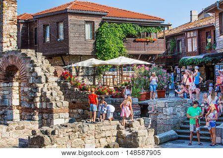 Nessebar, Bulgaria - July 25, 2016: People walking in old town Nessebar or Nesebar in Bulgaria, Black sea