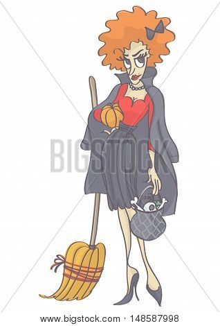 Elegant, cute ginger hair witch with pumpkin, broom and pot. Funny vector cartoon of woman in witch costume.
