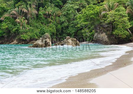 Exotic sand beach and rocks at Manuel Antonio Costa Rica
