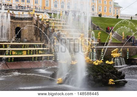 Saint-Petersburg Russia - September 18 2016: Samson Fountain is the central fountain of Grand Cascade in The State Museum Preserve Peterhof