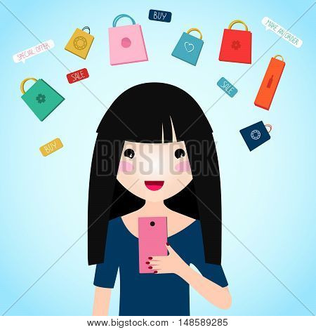 Pretty woman doing Online Shopping via Smartphone. Japanese anime style illustration. Young girl buys products over the internet.