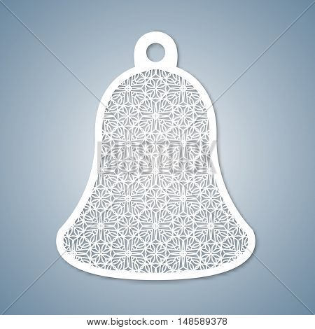 Christmas bell with geometric pattern. Laser Cutting template for greeting cards envelopes invitations interior elements. Vector xmas paper cutting ornamental panel. Die cut card.