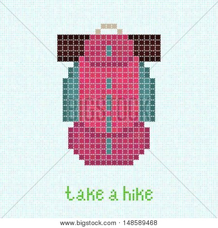 Take a Hike! Pixel art postcard with pink backpack. Trekking rucksack and sleeping pad. Trendy packsack. Outdoor Equipment. Bright colored travel bag.
