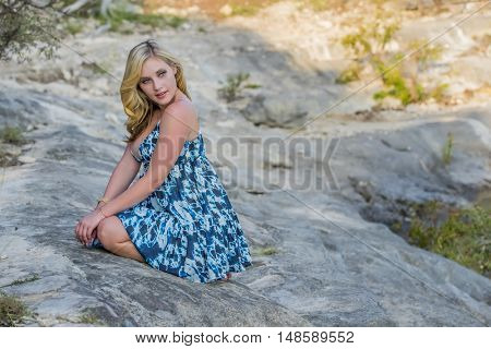 Blonde model in an outdoor environment