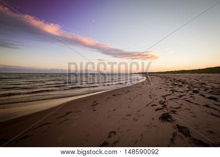 Sundown on a beach in Prince Edward Island