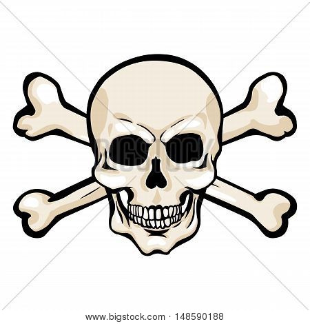 Vector Cartoon Pirate Skull With Cross Bones