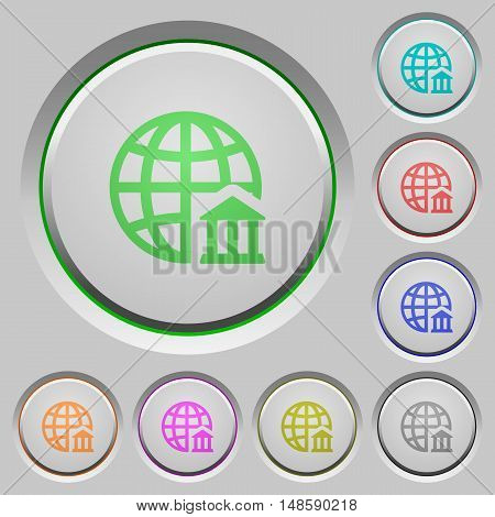 Set of color internet banking sunk push buttons.