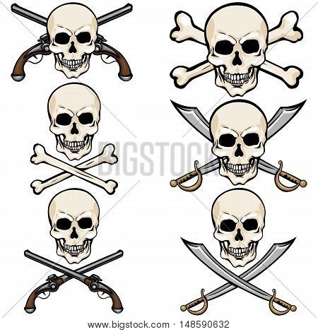 Vector Set Of Cartoon Pirate Skulls