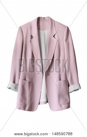 Pink silk elegant jacket on white background