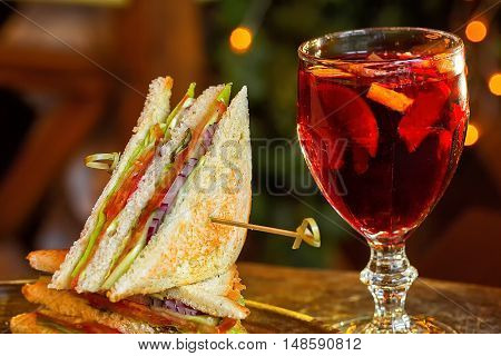 Vegetarian Sandwich With Vegetables And A Glass Of Mulled Wine