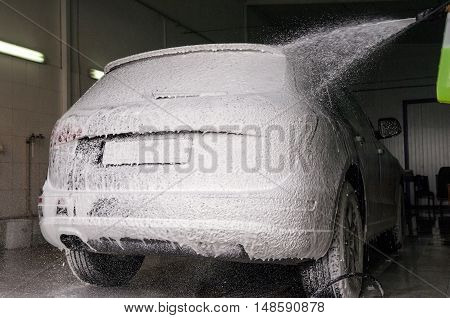 car wash process with washing foam outdoor
