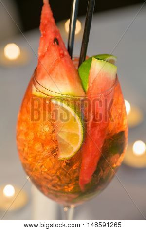Red watermelon cocktail a delicious healthy desert