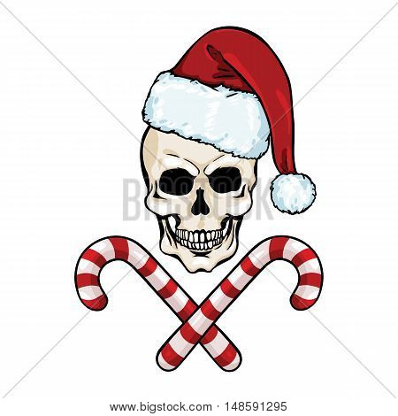 Vector Character - Christmas Skull And Crossed Candy Canes
