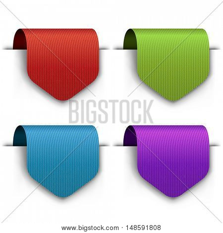Blank color cloth tags set Isolated on white background. Knitted vector labels template.