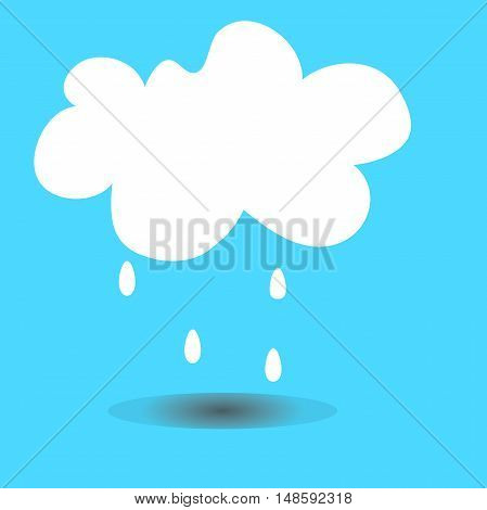 Cloud with raindrops icon and shadow isolated on blue background