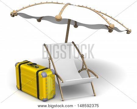 Vacation. Empty sunbed umbrella and yellow suitcase on a white surface. The concept of vacation trip. Isolated. 3D Illustration
