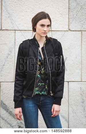 Gorgeous Model Posing During Milan Fashion Week